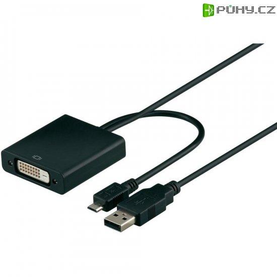DVI, USB kabel, DVI zásuvka 24+1pol., USB 2.0 zástrčka Micro-A/USB 2.0 zástrčka A - Kliknutím na obrázek zavřete