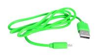 Kabel USB - Micro USB, zelený 1m