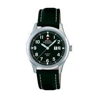 Ručičkové náramkové hodinky Swiss Military, 20009ST-11L, pánské, kožený pásek, černá