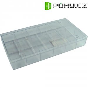 Zásobník na součástky průhledný - 12 přihrádek, 194 x 31 x 101 mm