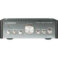 Stereo zesilovač Renkforce E-SA9, 2 x 12 W, stříbrná (metalíza), tmavě hnědá