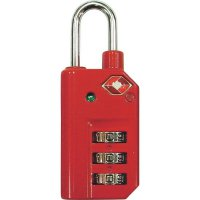Visací zámek TSA, 3násobná číselná kombinace, 25 mm, červená
