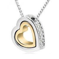 Šperk náhrdelník Double Heart, stříbrozlatý