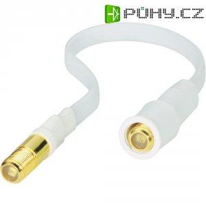 Plochý koaxiální kabel, F zásuvka ⇔ F zásuvka, 0,2 m, bílá
