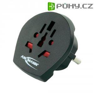 Cestovní adaptér Ansmann, 1250-0000, zásuvka univerzální ⇔ zástrčka CZ, černá