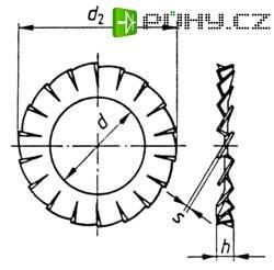 Vějířovité podložky TOOLCRAFT A2,7 D6798 194751 DIN 6798, Ø: 2,7 mm, pružinová ocel, 100 ks