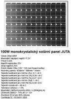 Fotovoltaický solární panel 12V/100W/5,82A. Nespolehlivý provoz.