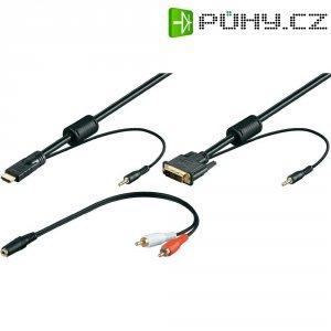 HDMI, DVI, Cinch, zástrčka, jack konektor 3,5 mm, DVI zástrčka 18+1pol., černá