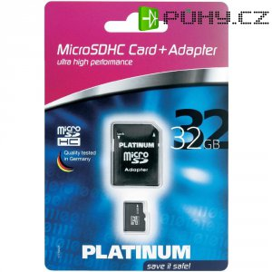 Pamětová karta microSDHC Platinum 32GB, Class 4, SD adaptér