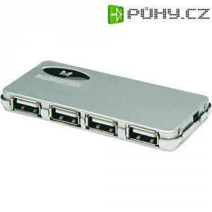 USB 2.0 hub Manhattan Hi-Speed, 4-portový, stříbrný