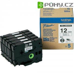Páska do štítkovače Brother HGe-231 (HGe231V5), 12 mm, HGe, HG, 8 m, černá/bílá, 5 ks
