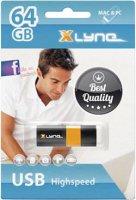 USB flash disk Xlyne Wave 7164000, 64 GB, USB 2.0, černá, oranžová