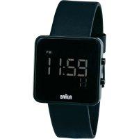 Digitální náramkové hodinky Braun, kožený pásek, černá
