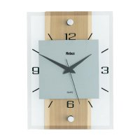 Analogové nástěnné hodiny, 18220, 20 x 28 x 5 cm, dřevo/sklo/hliník, buk
