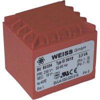Transformátor do DPS Weiss Elektrotechnik EI 30, prim: 230 V, Sek: 15 V, 153 mA, 2,3 VA
