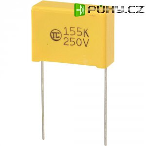Foliový kondenzátor MKS, 1,5 µF, 250 V, 5 %, 26,5 x 10 x 19 mm