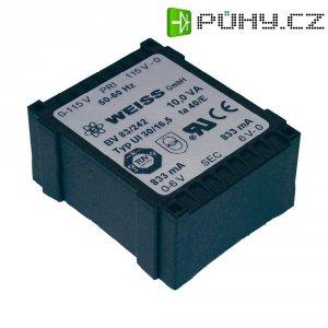 Plochý transformátor Weiss UI 30, 230 V/2x 9 V, 2x 556 mA, 10 VA
