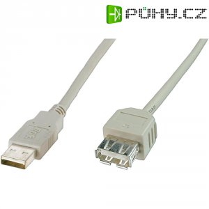 Kabel USB 2.0, USB A/USB zásuvka A, 1,8 m, béžová Digitus