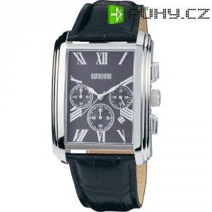 Ručičkové náramkové hodinky Eurochron Chrono 331 Quartz, kožený pásek, černá/stříbrná
