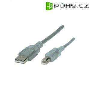 USB 2.0 kabel, USB 2.0 zástrčka A ⇔ USB 2.0 zástrčka B, transparentní, 3