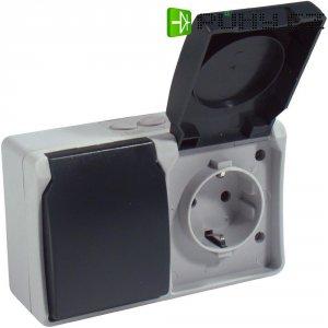 Zásuvka s krytem GAO Standard, 9872, IP54, 16 A, 230 V/AC, dvojitá, šedá