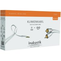 Kabel jack 3,5 mm ⇒ 2x cinch, 0,75 m, bílý, Inakustik