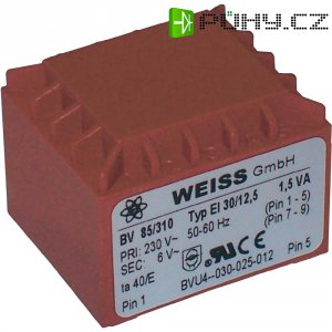 Transformátor do DPS Weiss Elektrotechnik EI 30, prim: 230 V, Sek: 15 V, 100 mA, 1,5 VA