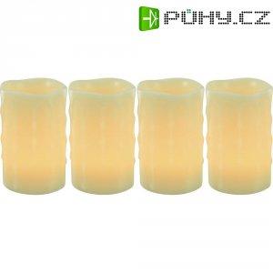 Dekorativní LED svíčka, 7,5 x 12 cm, slonová kost, sada 4 ks