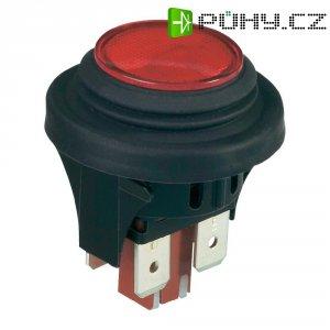 Tlačítkový spínač černo-červen2 pólový