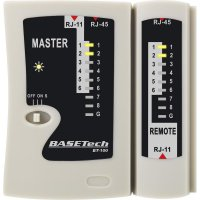 Kabelová zkoušečka Basetech BT-100 pro zástrčky RJ-45 a RJ-11