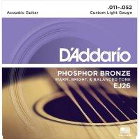 Kovové struny na akustickou kytaru D´Addario EJ26 Custom Light, 011 - 052