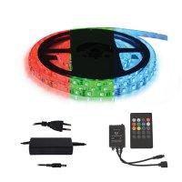 LED pásek 12V 5050 60LED/m IP20 max. 12W/m RGB, sada s 12V adaptérem a music ovladačem