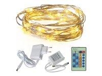 Řetěz vánoční 100 LED, 10m, bílá teplá, zdroj + ovladač