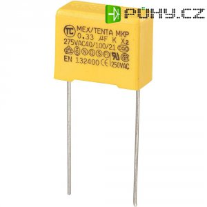 Foliový kondenzátor MKP, 0,33 µF, X2 275 V/AC, 10 %, 18 x 8,5 x 14,5 mm