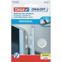 Samolepicí podložka se suchým zipem TESA On & Off 55226-03-00, Ø 16 mm, bílá, 8 pár