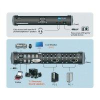 KVM switch Aten pro USB a DVI-Dual-Link s přenosem zvuku a USB 2.0 hub, 4-portový