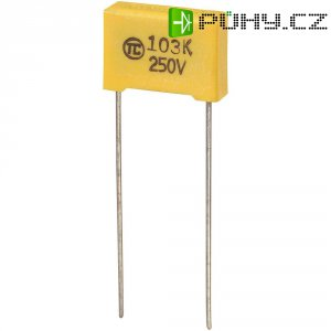 Foliový kondenzátor MKS, 0,01 µF, 250 V, 5 %, 13 x 4 x 9 mm