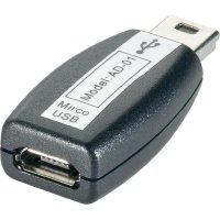 Adaptér USB 2.0, Mini-B / Micro-B, černý