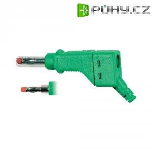 Lamelový konektor Ø 4 mm MultiContact 66.9328-25, zástrčka rovná, zelená