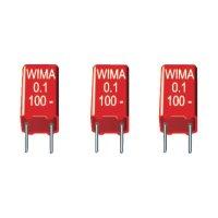 Foliový kondenzátor MKS Wima, 0,1 µF, 63 V, 20 %, 7,2 x 2,5 x 6,5 mm