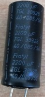 2200u/25V 85° 36x17x7,5mm, TGL38928, elektrolyt.kondenzátor radiální