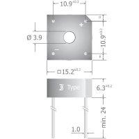 Křemíkový můstkový usměrňovač Diotec KBPC604, U(RRM) 400 V, 6 A, Plast