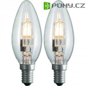 Halogenová žárovka Sygonix, E14, 28 W, 100 mm, stmívatelná, teplá bílá, 2 ks