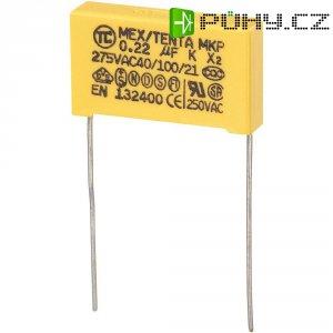 Foliový kondenzátor MKP, 0,22 µF, X2 275 V/AC, 10 %, 26,5 x 7 x 17 mm