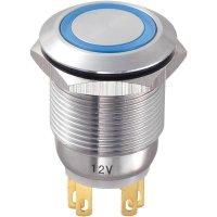 Tlačítko antivandal bez aretace TRU COMPONENTS LAS1-GQ-11E/B/12V, 250 V/AC, 3 A, nerezová ocel, 1x vyp/(zap), modrá