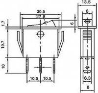 Vypínač kolébkový OFF-ON 1pol.250V/10A s doutn.
