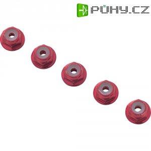 Hliníková samojistící matice M4, 10 ks, červená