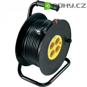 Kabelový buben, 4 zásuvky, 50 m, černá