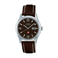 Ručičkové náramkové hodinky Swiss Military, 20009ST-9L, pánské, kožený pásek, černá