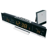 Bezdrátové hodiny s teploměrem Techno Line WS 6810, 285 x 70 x 55 mm, jantar